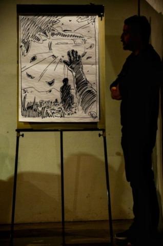 Alessandro Mazzetti, in questo disegno, ha voluto rappresentare una delle scene che apre il romanzo.
